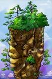 Torenhoge montain met bomen bovenop het Stock Foto