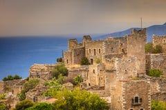 Torenhuizen in Vathia Griekenland Mani Peninsula royalty-vrije stock afbeeldingen