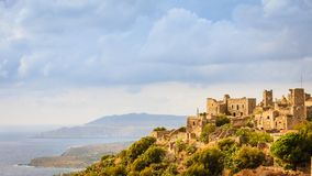 Torenhuizen in Vathia Griekenland Mani Peninsula royalty-vrije stock foto's
