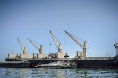 Torenkraan op boot Stock Afbeelding