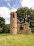 Torenruïnes van koloniale coffeaanplanting stock foto's
