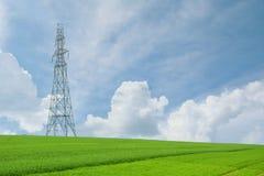 Torens en kabels met hoog voltage op landbouwgebieden op een blauwe hemel stock foto's