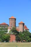 Torens op het Wawel Kasteel, Krakau Stock Foto