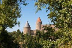 Torens van de citadel van Carcassonne door bomen worden ontworpen die Royalty-vrije Stock Foto