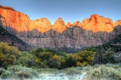 Torens van de Maagdelijke zonsopgang, Zion Royalty-vrije Stock Afbeelding