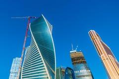 Torens van Internationale Commerciële Centrum Moskou-Stad Stock Afbeeldingen