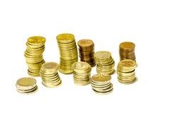 Torens van muntstukken van geïsoleerde euro Royalty-vrije Stock Fotografie