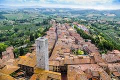 Torens van oude stad San Giminiano, Toscanië, Italië royalty-vrije stock foto's