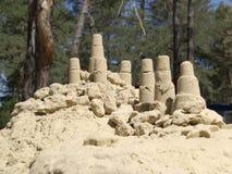 Torens van zand Pijnboom bosachtergrond Royalty-vrije Stock Foto