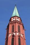 Torenspits van de oude kerk van Nicolai, Frankfurt Stock Afbeeldingen