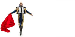 Free Torero In Blue And Gold Suit Or Typical Spanish Bullfighter Isolated Over White Royalty Free Stock Image - 137316906