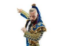 Torero w błękicie i złocisty hiszpański bullfighter odizolowywający nad bielem kostiumu lub typowego fotografia stock