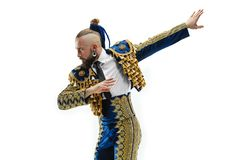 Torero w błękicie i złocisty hiszpański bullfighter odizolowywający nad bielem kostiumu lub typowego fotografia royalty free