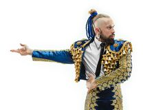Torero w błękicie i złocisty hiszpański bullfighter odizolowywający nad bielem kostiumu lub typowego obrazy stock