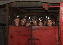 Torez, Ukraine - November 25, 2013: Miners mines `Progress` fall into underground. Workings for a shift Royalty Free Stock Photos