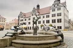 Torgau Market Square. Fountain in the Market Square of Torgau Royalty Free Stock Image