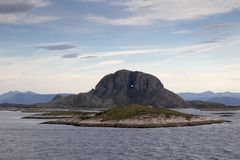 Torghatten Mountain on Torget Island, Norway Royalty Free Stock Photography