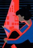 Torgskräck och person med skräck som är rädd att gå ut royaltyfri illustrationer