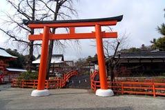 Tori and bridge. Tori, the entrance of shrine.  The tori and bridge of Shimogamo-jinja Shrine Royalty Free Stock Images