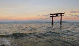 Tori di Shirahige in Lake Biwa nel Giappone Fotografie Stock Libere da Diritti