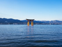Tori Gate during high tide Itsukushima Shrine in Hiroshima Japan Stock Image