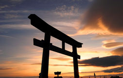 Tori Gate in Mount Fuji of Japan. The famous Tori gate at the 8th station of Mount Fuji during dawn stock photo