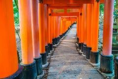 Tori Gate roja en el templo de la capilla de Fushimi Inari en Kyoto, Japón Fotografía de archivo libre de regalías