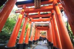 Tori Gate roja en la capilla de Fushimi Inari en Kyoto, Japón, selectivo Fotos de archivo