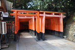 Tori gates at Fushimi Inari Shrine in Kyoto, Japan. Stock Photos