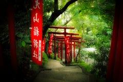 Tori Gates. Looking through a series of tori gates in Japan Stock Photo
