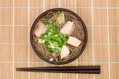 Tori-soba noodles Stock Images