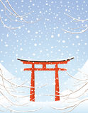 Tori winter landscape. Torii Gate on Miyajima Island Royalty Free Stock Photography