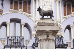 Torico bull sculpture and modernism facade in Teruel. Spain. Torico bull sculpture and modernism facade in Teruel. Tourism Spain stock images