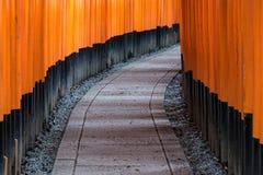 Torii красного цвета стробирует путь дорожки на святыне taisha inari fushimi Стоковые Фотографии RF