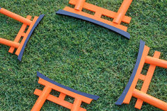 Torii anaranjado del japonés con la hierba verde Fotos de archivo
