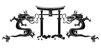 Torii and asian dragons stencil Royalty Free Stock Photography