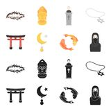 Torii, carp koi, woman in hijab, star and crescent. Religion set collection icons in black,cartoon style vector symbol. Stock illustration Royalty Free Stock Photography
