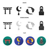Torii, carp koi, woman in hijab, star and crescent. Religion set collection icons in black, flat, monochrome style stock illustration