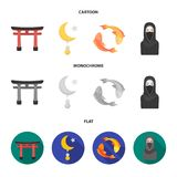 Torii, carp koi, woman in hijab, star and crescent. Religion set collection icons in cartoon,flat,monochrome style royalty free illustration