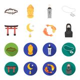 Torii, carp koi, woman in hijab, star and crescent. Religion set collection icons in cartoon,flat style vector symbol. Stock illustration Royalty Free Stock Image