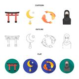 Torii, carp koi, woman in hijab, star and crescent. Religion set collection icons in cartoon,outline,flat style vector stock illustration