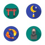 Torii, carp koi, woman in hijab, star and crescent. Religion set collection icons in flat style vector symbol stock Royalty Free Stock Images