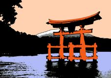 Torii at dawn. Illustration of the famous floating Torii in Miyajima at dawn. It's a symbol for Japan, tha land of the rising sun royalty free illustration