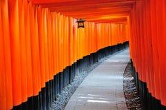 Torii di legno al santuario di Fushimi Inari Taisha a Kyoto, Giappone Immagine Stock Libera da Diritti