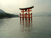 Torii gate. The floating torii gate at Miyajima Island, a UNESCO World Heritage Site stock image