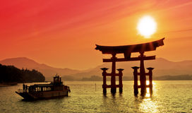 Torii Gate. Sunset view of Torii gate, Miyajima, Japan Stock Image