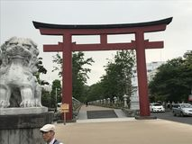 TORII GATE ENTRANCE TO THE GREAT BUDDAH IN JAPAN stock images