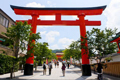 Torii Gate of Fushimi Inari Shrine. This giant Torii Gate is located at the entrance of the Fushimi Inari Shrine, a shrine dedicated to Inari - the Shinto god of Royalty Free Stock Image