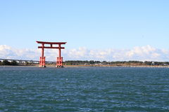 Torii gate on Hamanako lake in Hamamatsu, Shizuoka Stock Photo