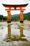 Torii gate of Itsukushima Shrine at Miyajima Stock Photos